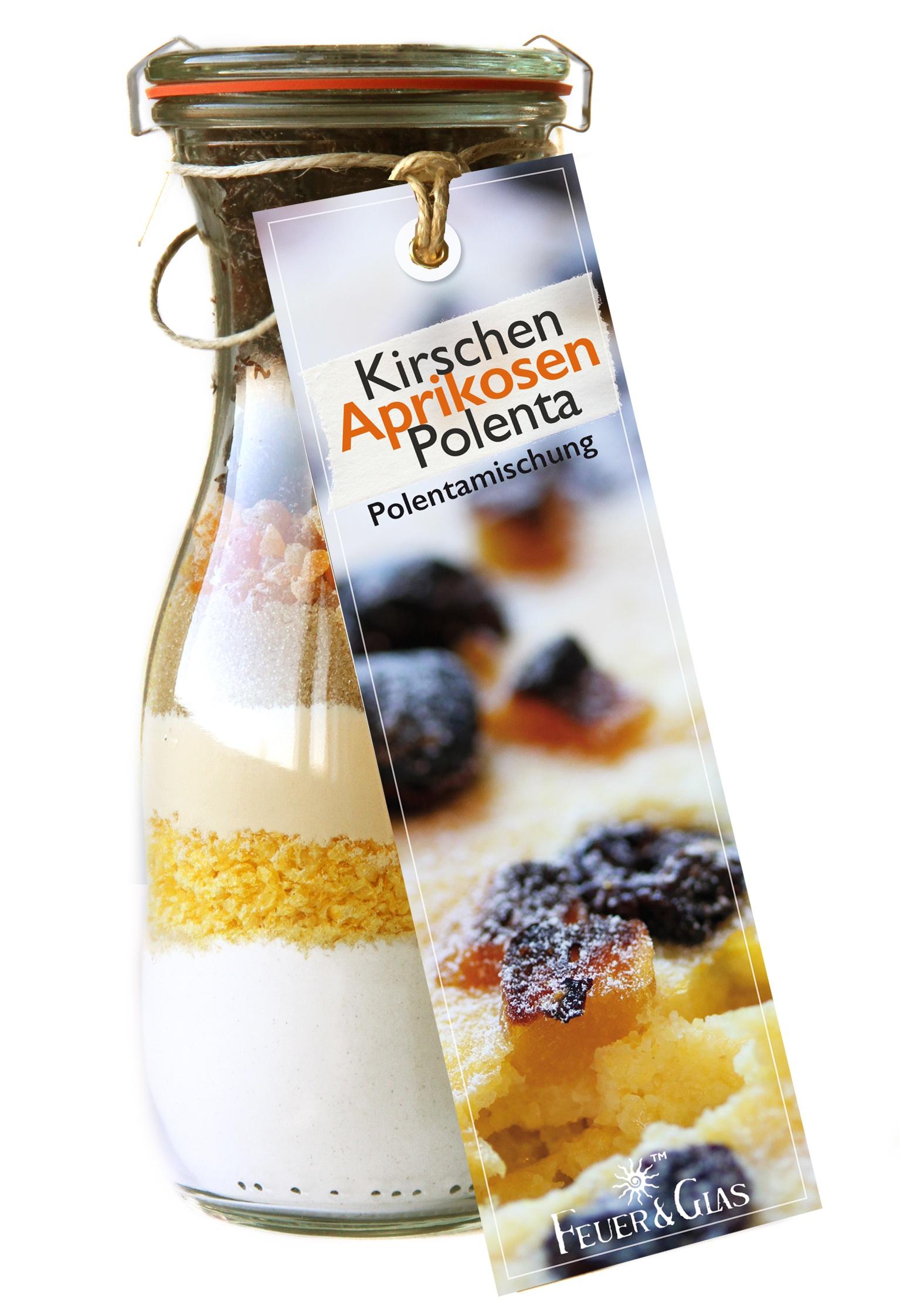 Kirschen Aprikosen Polenta  Backmischung  in der Weckflasche  500ml
