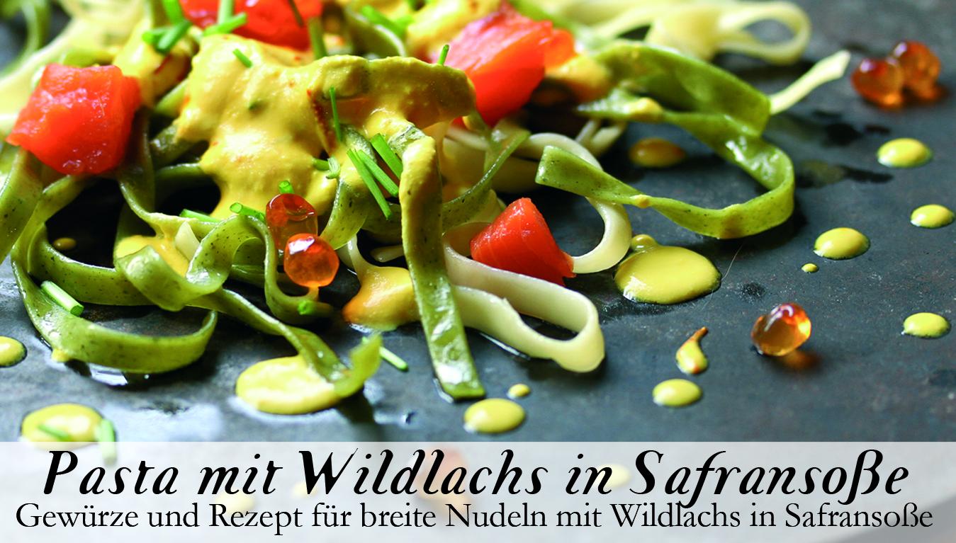 Pasta mit Wildlachs in Safransoße