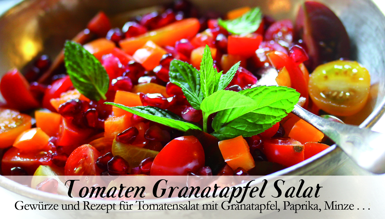 Tomaten Granatapfel Salat-Gewürzkasten